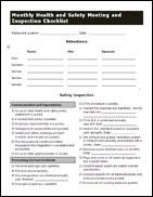 Monthly Health And Safety Meeting Inspection Checklist