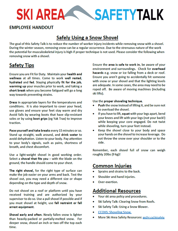 Safety Talk for Ski Areas: Safely Using Snow Shovel