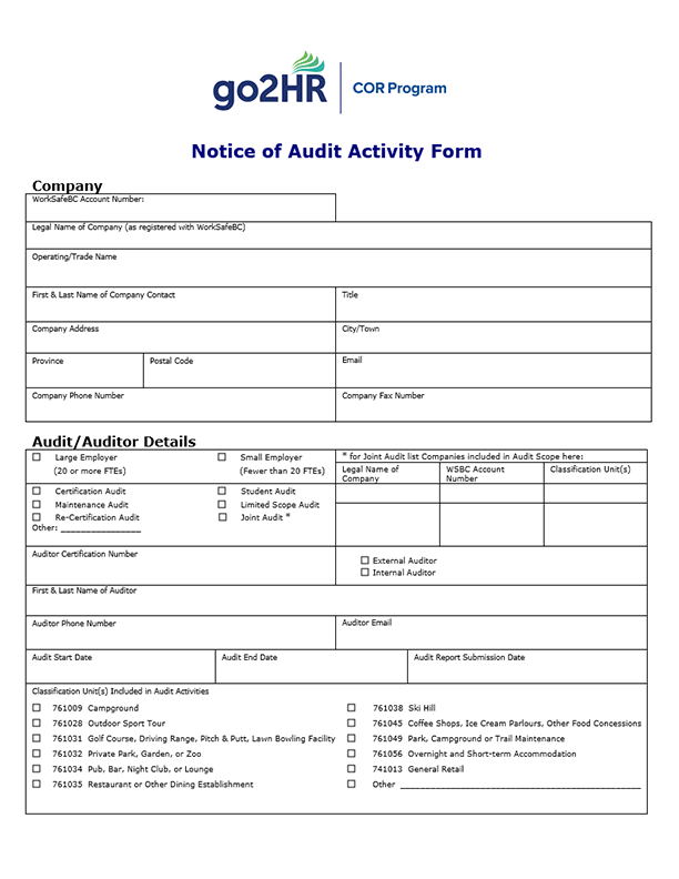 Notice of Audit Activity Form