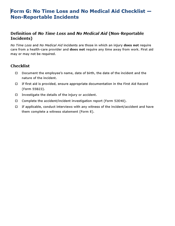 Form G: No Time Loss and No Medical Aid Checklist – Non-Reportable Incidents (Accommodation)