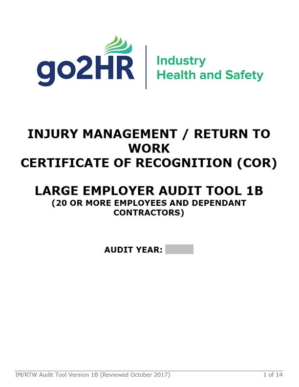 Injury Management/Return to Work Certificate of Recognition: Large Employer Audit Tool