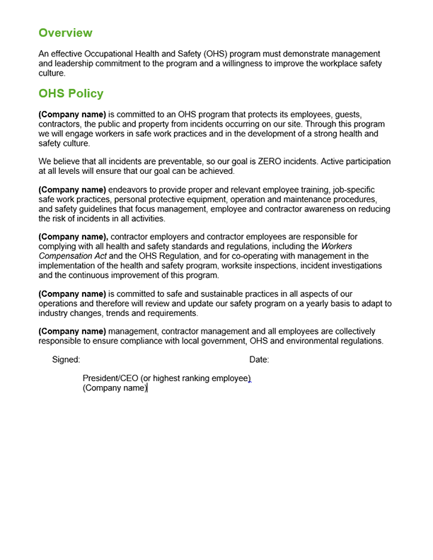 OHS Policy