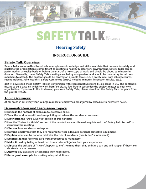 Safety Talk for Ski Areas: Hearing Safety