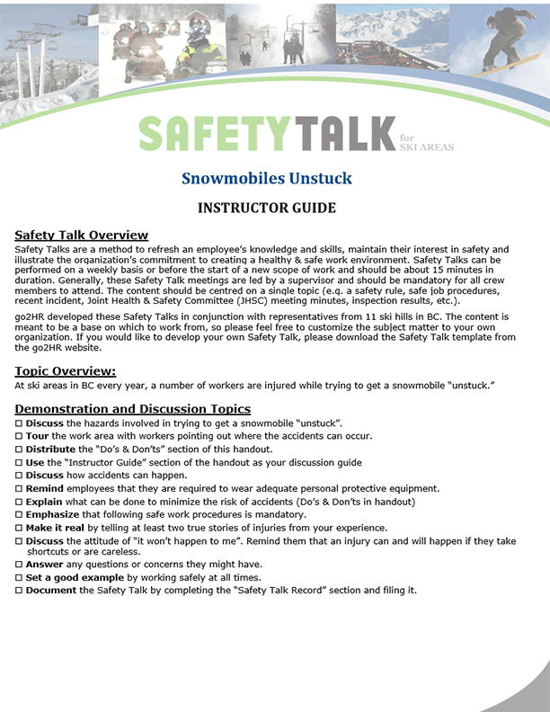 Safety Talk for Ski Areas: Snowmobiles Unstuck
