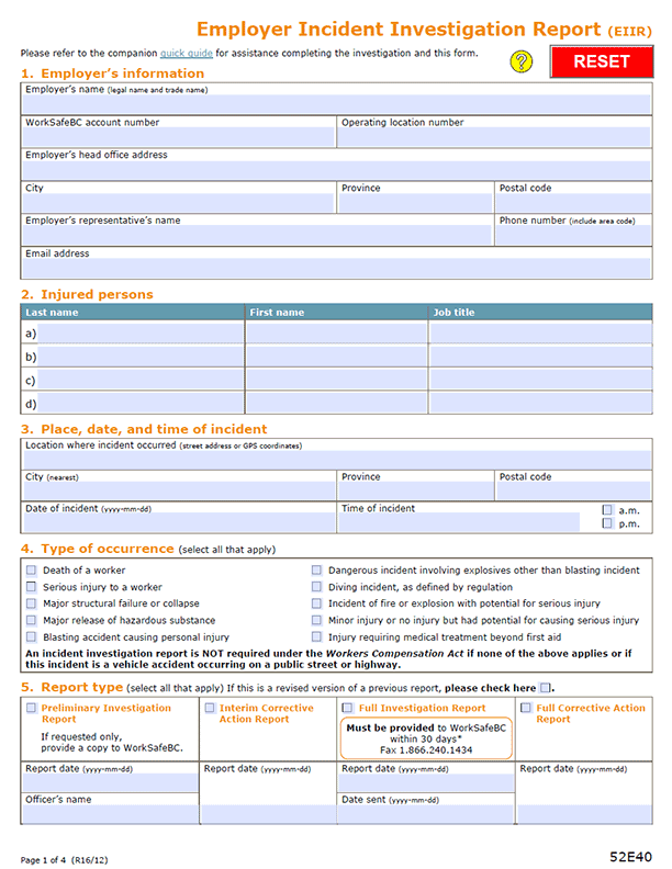WorkSafeBC Form 52E40: Employer Incident Investigation Report