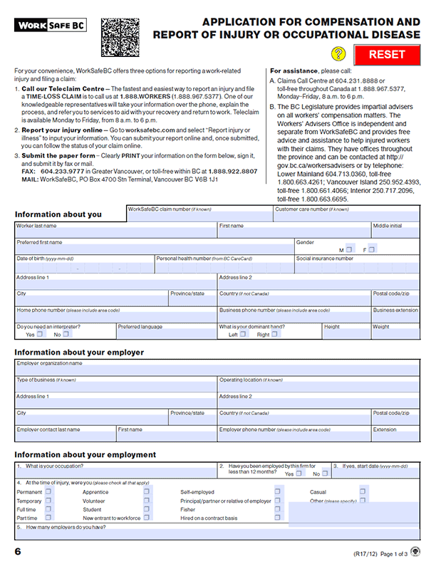 Form 6: Application for Compensation and Report of Injury or Occupational Disease