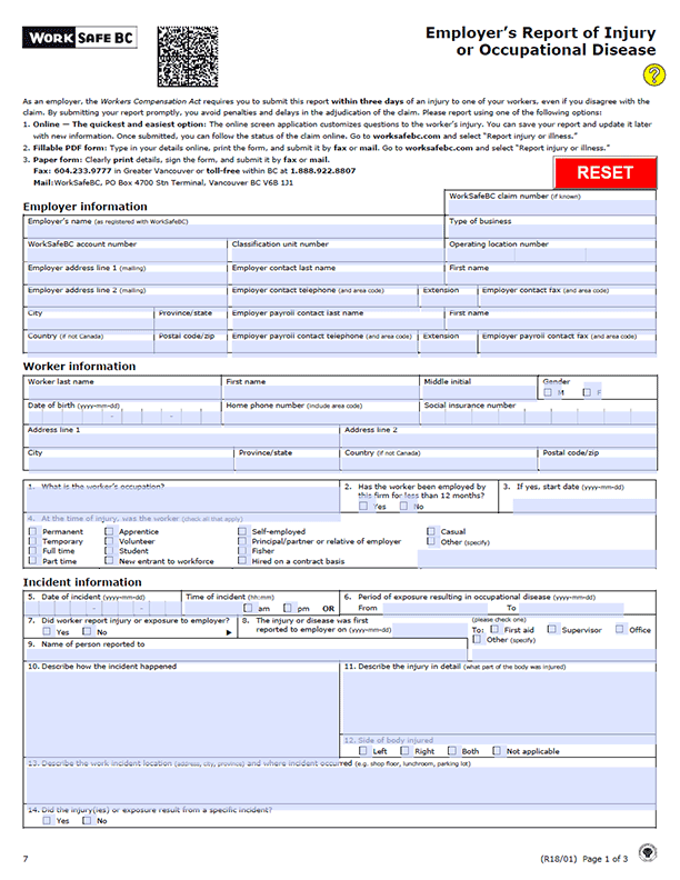 WorkSafeBC Form 7: Employer's Report of Injury or Occupational Disease
