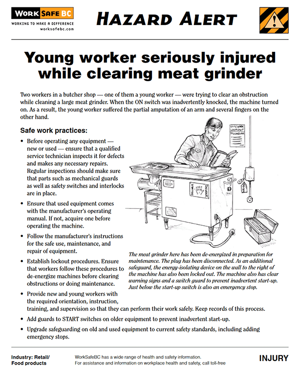 Hazard Alert: Young Worker Seriously Injured While Clearing Meat Grinder