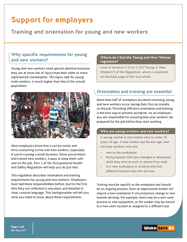 Support for Employers: Training and Orientation for Young and New Workers