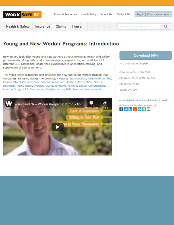 Young and New Worker Programs: WorkSafeBC Video Profiles