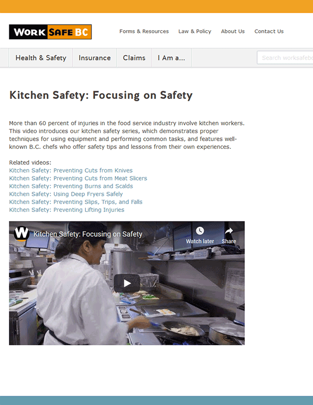 Kitchen Safety: Focusing on Safety