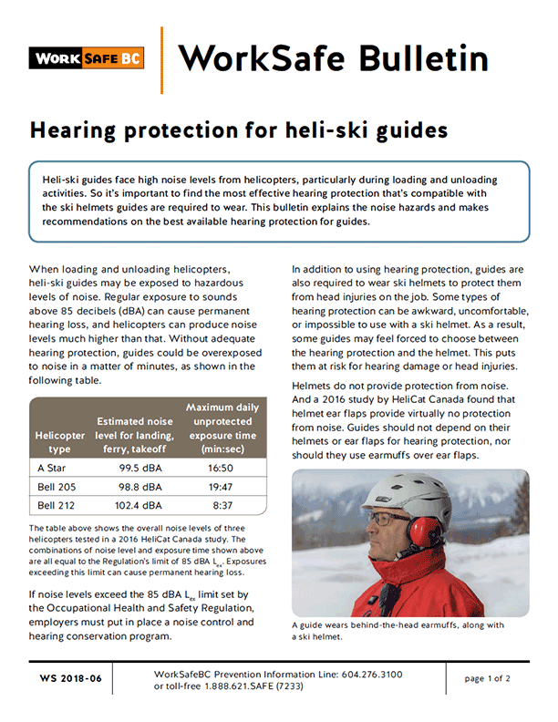 Hearing Protection for Heli-Ski Guides