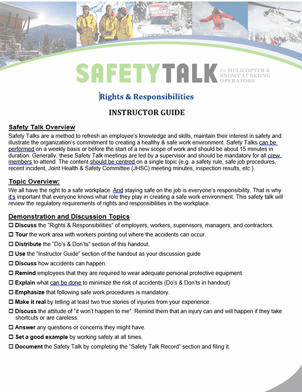 Safety Talk for Helicopter & Snowcat Skiing Operators: Rights & Responsibilities