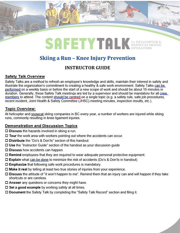 Safety Talk for Helicopter & Snowcat Skiing Operators: Skiing a Run – Knee Injury Prevention
