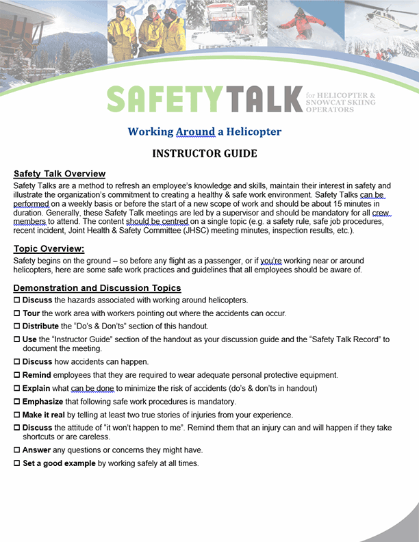 Safety Talk for Helicopter & Snowcat Skiing Operators: Working Around a Helicopter