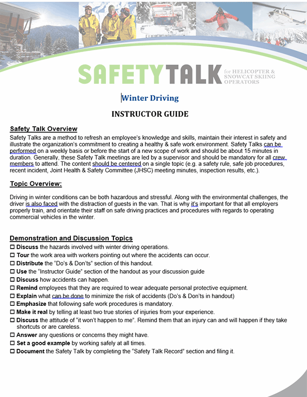 Safety Talk for Helicopter & Snowcat Skiing Operators: Winter Driving