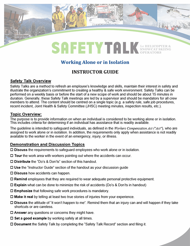 Safety Talk for Helicopter & Snowcat Skiing Operators: Working Alone or in Isolation