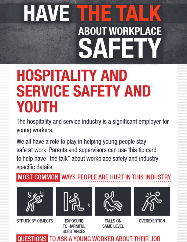 Hospitality and Service Safety and Youth Parent Tip Card