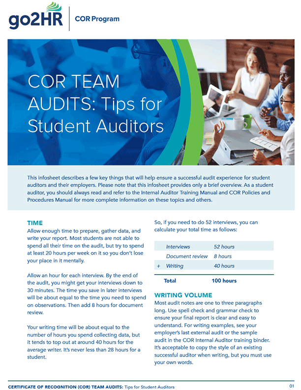 Tips for Student Auditors – Infosheet