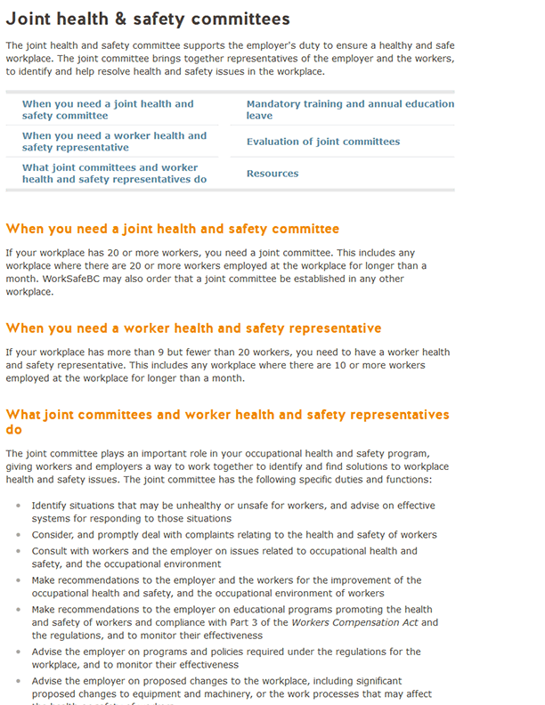Joint Health & Safety Committees