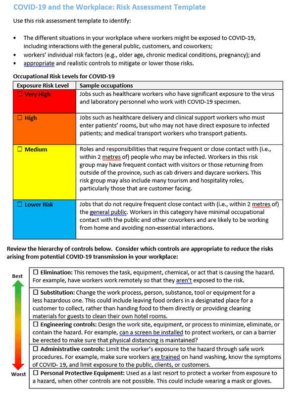 Risk Assessment Template Bc Industry Health Safety Resources Go2hr Download this risk assessment excel template that meets your company or industry needs now! risk assessment template bc industry