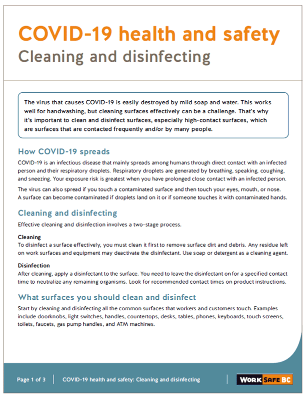 COVID-19 Health and Safety: Cleaning and Disinfecting