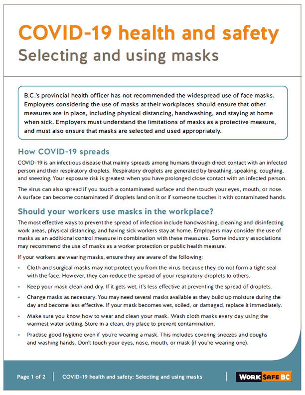 COVID-19 Health and Safety: Selecting and Using Masks