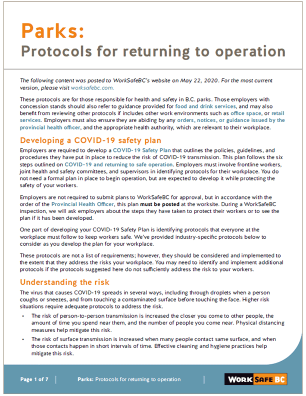 Parks: Protocols for Returning to Operation