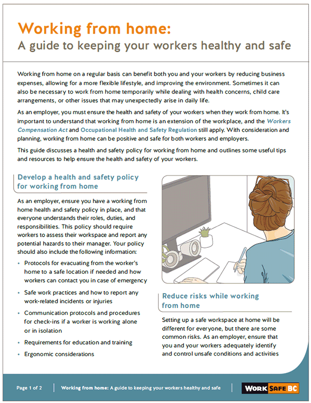 Working from Home: A Guide to Keeping Workers Healthy and Safe
