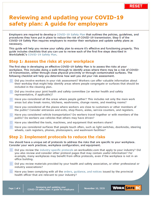 Reviewing and Updating your COVID-19 Safety Plan: A Guide for Employers