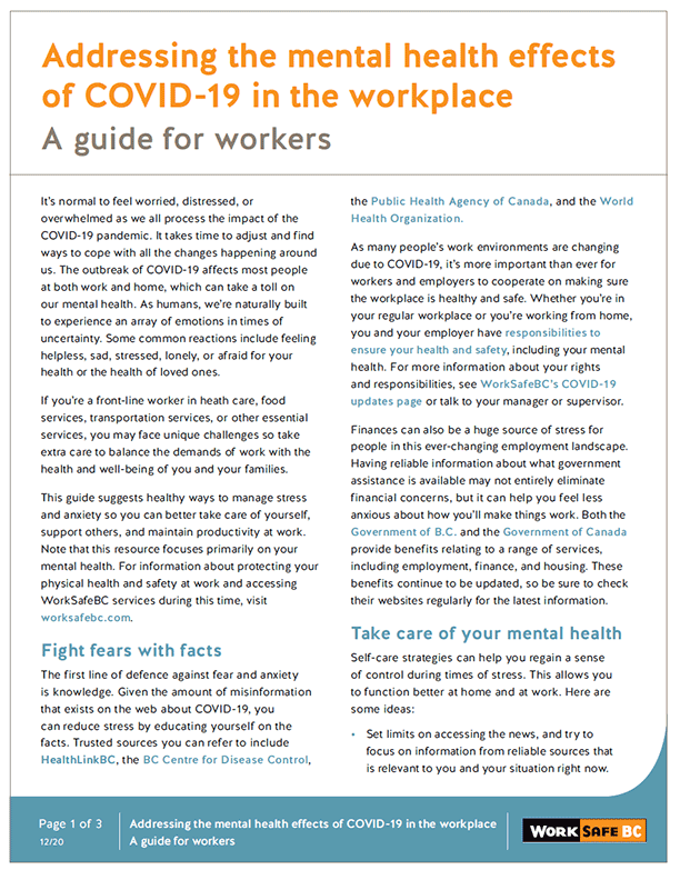 Addressing the Mental Health Effects of COVID-19 in the Workplace: A Guide for Workers
