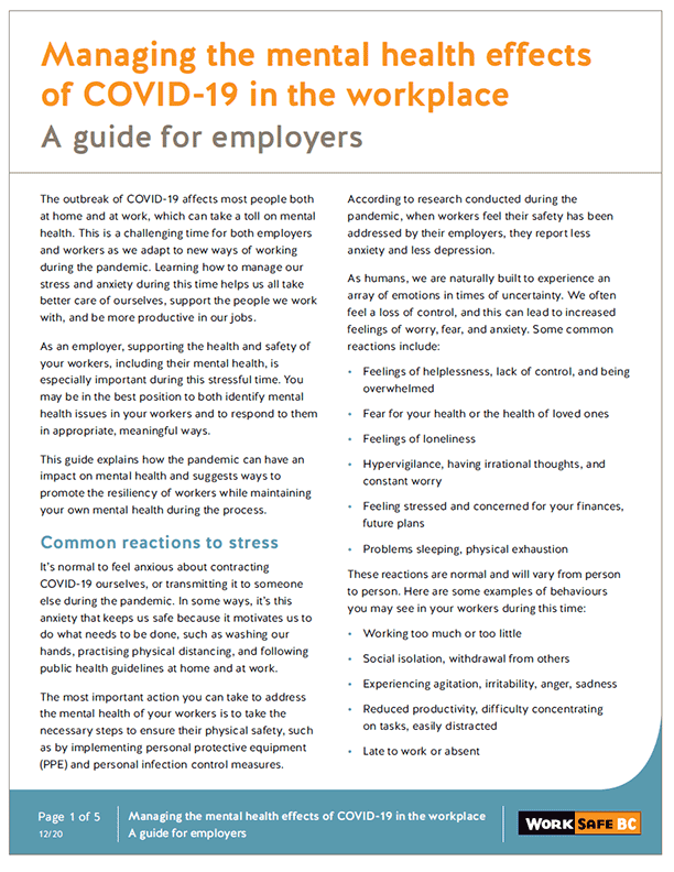 Managing the Mental Health Effects of COVID-19 in the Workplace: A Guide for Employers