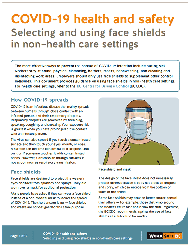COVID-19 Health and Safety: Selecting and Using Face Shields in Non-Health Care Settings